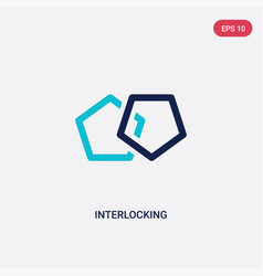 Two color interlocking icon from analytics vector
