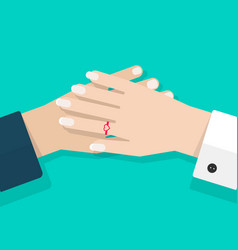two hands together flat vector image