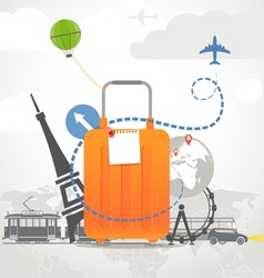 Vacation travelling composition with orange bag vector
