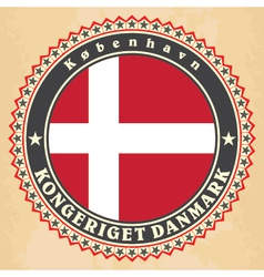Vintage label cards of Denmark flag vector