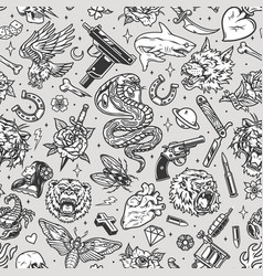 vintage tattoos seamless pattern vector image