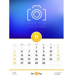 Wall Calendar Template for 2017 Year November vector image