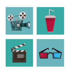 White background with film elements in frames as vector