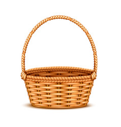 wicker basket realistic isolated vector image