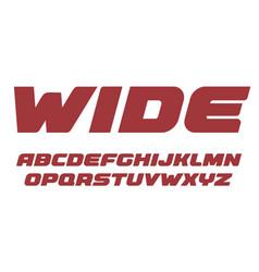 wide bold letters set heavy alphabet bold italic vector image