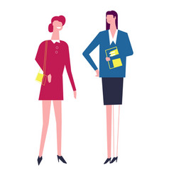 woman friends wearing working costumes suits of vector image