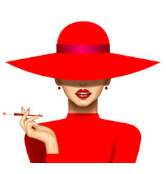 woman with a cigarette in red hat and evening vector image