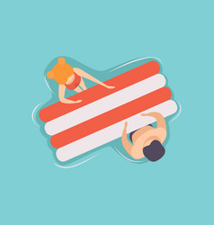 young couple floating on air mattress in swimming vector image