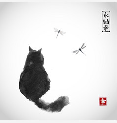 black fluffy cat watching over dragonflies on vector image