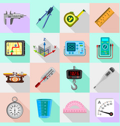Measure precision icons set flat style vector
