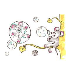 mouse lets bubbles blow vector image vector image
