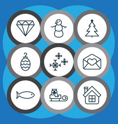 set of 9 new year icons includes star snow vector image