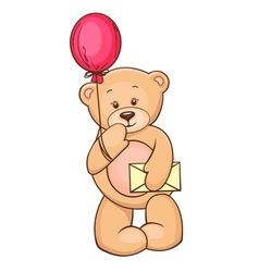 teddy with balloon and message vector image vector image
