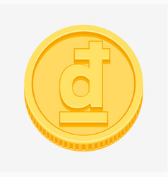 vietnamese dong symbol on gold coin vector image vector image