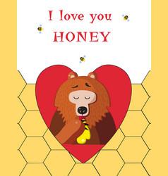 bear eating sweet honey inside of red heart on vector image