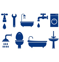 isolated bath objects on white background vector image vector image