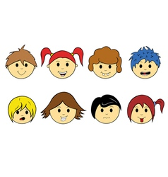 kid faces vector image vector image