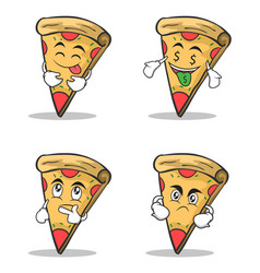 pizza character cartoon set collection vector image vector image