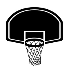 silhouette monochrome with rounded basketball hoop vector image vector image