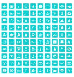 100 holidays icons set grunge blue vector image