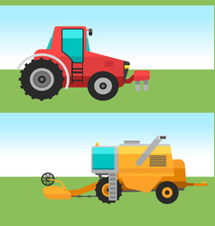 Agricultural vehicles cards harvester machine vector