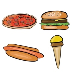 doodle fastfood vector image vector image