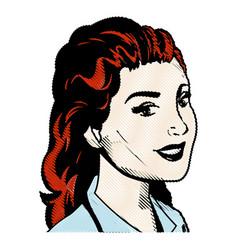 drawing portrait woman hairred pop art vector image vector image