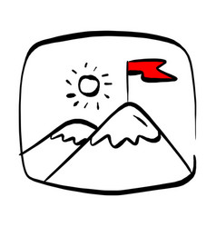 red flag on a mountain peak in rectangular vector image