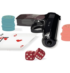 Set of various subjects from a casino subject vector image vector image