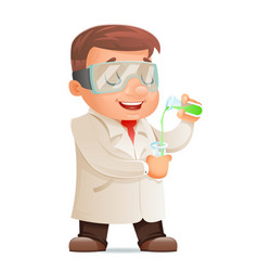 young cute scientist test-tube icon retro 3d vector image vector image