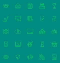 Business management green line icons vector