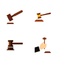 Flat icon hammer set of hammer law justice and vector