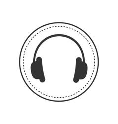 Headphones earphones with dash line round circle vector image vector image