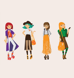 lovely set young hipster girls drawn in casual vector image
