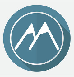 Mountain icon on white circle with a long shadow vector