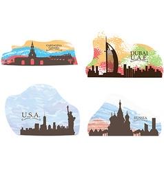 Set of skylines vector image