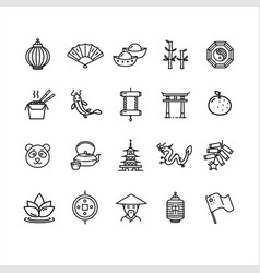 symbol of china black thin line icon set vector image