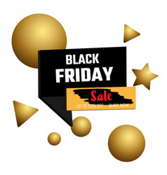 3d design black friday sale banner bubble and vector image