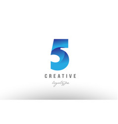 5 five blue gradient number numeral digit logo vector image