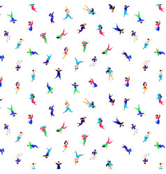 a pattern dancing people in different poses vector image