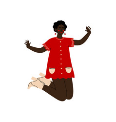 African american girl happily jumping young woman vector