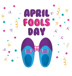 April fools day shoe with tied laces comic vector