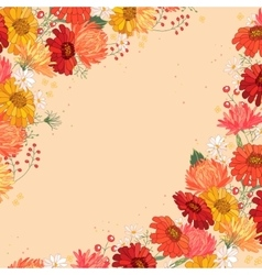 Backdrop with gerbera and aster Red and yellow vector