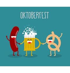 Beer sausage and pretzel friends Oktoberfest food vector
