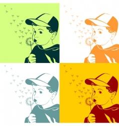 boy with dandelion vector image vector image