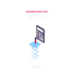 business analytics - modern isometric web vector image