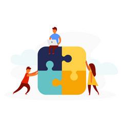 Business concept team metaphor people connecting vector