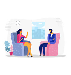 Businessman at psychotherapy session business vector