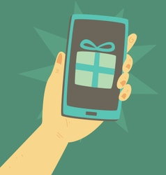 Cartoon Hand Holding a Smartphone with a Present i vector