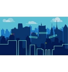 cartoon night city landscape unending vector image